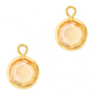 DQ Crystal glass charms round 6mm Gold-Crystal Golden Shadow