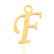 Stainless steel charms initial F Gold