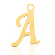Stainless steel charms initial A Gold