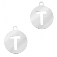 Stainless steel charms round 10mm initial coin T Silver