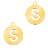 Stainless steel charms round 10mm initial coin S Gold