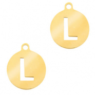 Stainless steel charms round 10mm initial coin L Gold