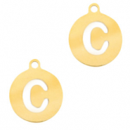Stainless steel charms round 10mm initial coin C Gold
