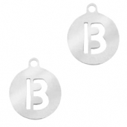 Stainless steel charms round 10mm initial coin B Silver
