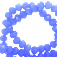 Top faceted beads 6x4mm disc Provence Blue-Pearl Shine Coating