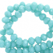 Top faceted beads 6x4mm disc Turquoise Blue-Pearl Shine Coating