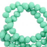 Top faceted beads 8x6mm disc Dark Spearmint Green-Pearl Shine Coating
