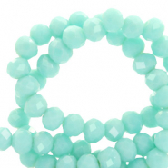 Top faceted beads 6x4mm disc Bleached Aqua Turquoise-Pearl Shine Coating