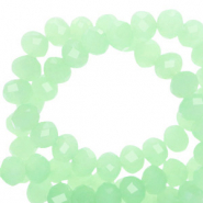 Top faceted beads 6x4mm disc Medium Green Opal-Pearl Shine Coating