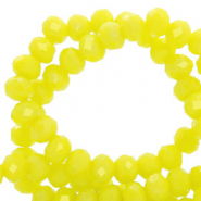 Top faceted beads 8x6mm disc Charlock Yellow-Pearl Shine Coating