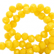 Top faceted beads 6x4mm disc Vibrant Yellow-Pearl Shine Coating