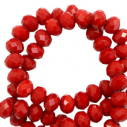 Top faceted beads 8x6mm disc Hautre Red-Pearl Shine Coating