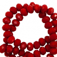 Top faceted beads 6x4mm disc Dark Haute Red-Pearl Shine Coating