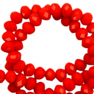Top faceted beads 6x4mm disc Flame Scarlet Red-Pearl Shine Coating
