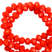 Top faceted beads 8x6mm disc Living Coral Red-Pearl Shine Coating