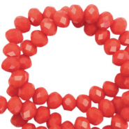 Top faceted beads 8x6mm disc Vintage Coral Red-Pearl Shine Coating