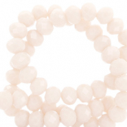Top faceted beads 8x6mm disc Light Peach Beige-Pearl Shine Coating