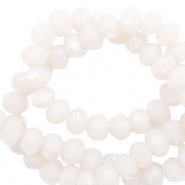 Top faceted beads 8x6mm disc Soft White-Pearl Shine Coating