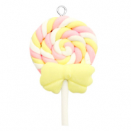 Charm with 1 loop fimo ice lolly Yellow-Pink