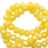 Top faceted beads 6x4mm disc Freesia Golden Yellow Opal-Pearl Shine Coating