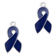 Metal charms ribbon Silver-Dark Blue