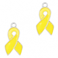 Metal charms ribbon Silver-yellow