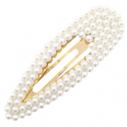 Hair accessories hair clip pearls drop Off White-Gold