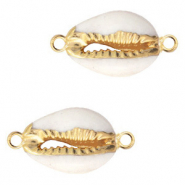 Shell beads connectors specials Cowrie Cream White-Gold