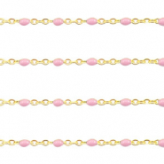 Stainless steel findings belcher chain 1mm Light Pink-Gold