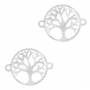 Stainless steel charms connector tree of life 13mm Silver
