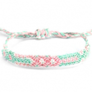 Ready-made Bracelets/Anklets Brazilian style| One size fits all Pastel Green-Pink