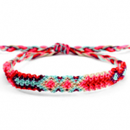 Ready-made Bracelets/Anklets Brazilian style| One size fits all| Economy pack Multicolour Red-Fluor Pink