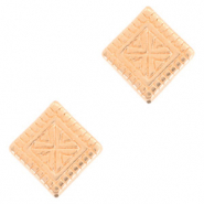 DQ European metal beads square Rose Gold (nickel free)