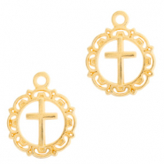 DQ European metal charms Cross round 16mm Gold (nickel free)