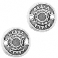DQ metal settings round 2 loops for SS20 flatback Antique Silver (nickel free)
