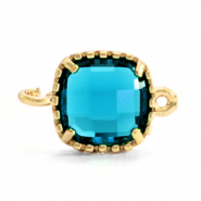 Crystal glass connectors square 9x9mm Aquamarine Blue-Gold