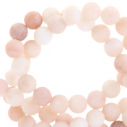 Semi-precious stone beads round 4mm jade matt Multicolour beige rose