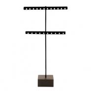 Jewellery display T-From for earrings with wooden standard Black-Dark Brown