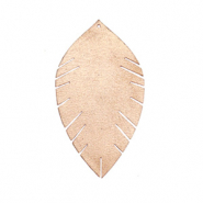 Faux leather pendants leaf small Champagne Rose