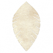 Faux leather pendants leaf large Semoline Beige