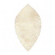 Faux leather pendants leaf medium Semoline Beige