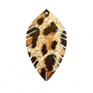 Faux leather pendants leaf small leopard Beige-Brown