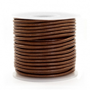 Benefit package DQ leather round 2 mm Pecan Brown Metallic