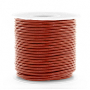 DQ leather round 1 mm Red Ochre Brown
