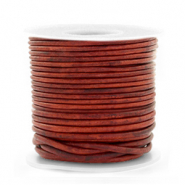 Benefit package DQ leather round 1 mm Vintage Burgundy Red