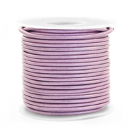 DQ leather round 1 mm Lilac Purple Metallic