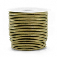DQ leather round 1 mm Olive Green Metallic