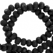 Wooden beads round 8mm Nature Wood-Greige Black