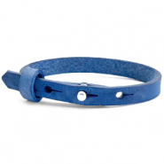 Leather Cuoio kids bracelet 8mm for 12mm cabochon Victoria Blue