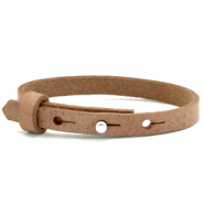 Leather Cuoio kids bracelet 8mm for 12mm cabochon Toasted Nut Brown